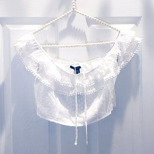 F21 White Off The Shoulder Crop Top